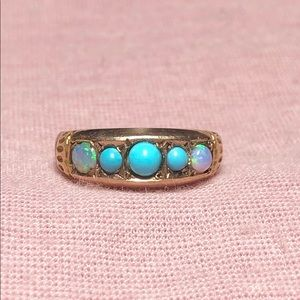 Victorian 9k Yellow Gold Turquoise Opal Ring